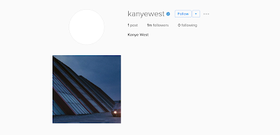 Kanye West's new Instagram account hits 1 million followers in 2 days!