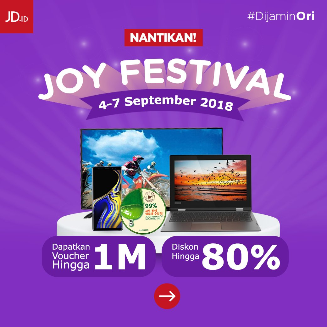 JdID - Promo Joy Festival Diskon 80% + Voucher 1 M (04 - 07 Sept 2018)