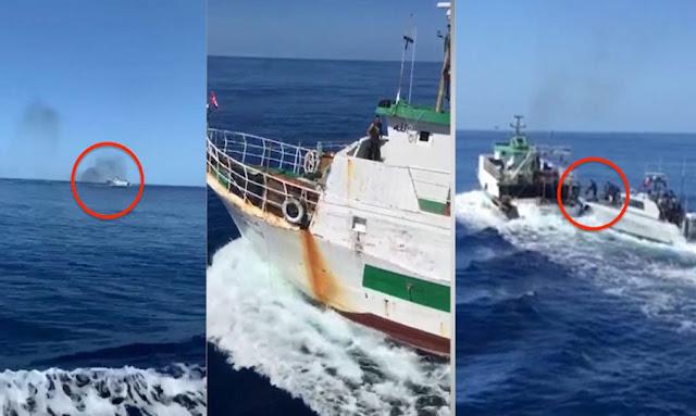 تونس / بالفيديو : الجيش الإيطالي يطارد قارب صيد تونسي ويطلق عليه الرصاص الحي