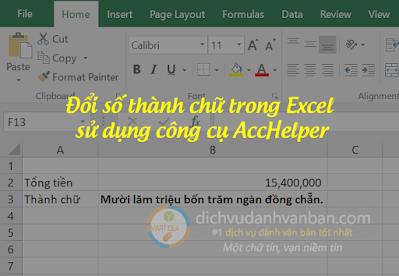 """Hướng dẫn đổi số thành chữ trong Excel 2010-2013-2016 sử dụng AccHelper Hướng dẫn đổi số thành chữ trong Excel 2010-2013-2016 sử dụng AccHelper Hôm nay mình giới thiệu và hướng dẫn nhằm hỗ trợ các bạn kế toán, nhân viên văn phòng thêm một công cụ đổi số thành chữ nữa đó là công cụ AccHelper của công ty bluesofts phát triển. Ưu điểm của công cụ này là chạy nhanh và cài đặt dễ dàng và chạy được cả trên Microsoft Excel 32 bit và 64 bit.  đổi số thành chữ trong excel sử dụng acchelper  Trước khi cài đặt các bạn lưu ý phải tắt hết toàn bộ các file Excel đang bật trên máy tính.  Tải gói cài đặt Acchelper tại đây và giải nén Sau khi tải công cụ AccHelper theo link phía trên các bạn tiến hành vào thư mục vừa download file xuống ==> nhấn chuột phải lên file Acchelper.rar và chọn Extract Here để giải nén thư mục Acchelper như hướng dẫn của hình bên dưới.  giải nén file acchelper  CÀI ĐẶT TRÊN EXCEL 2007/ 2010/ 2013/ 2016 (*) Cài đặt Add-in trong Excel2007, 2010, 2013, 2016 hoặc cao hơn:  + Bấm vào nút """"File"""" (hoặc """"Office Button"""" với word 2016)  là nút to, tròn ở góc đỉnh bên trái màn hình  acchelper đổi số thành chữ  + Chọn """"Excel Options""""  acchelper đổi số thành chữ  + Chọn """"Add-Ins"""", màn hình phía bên phải, dưới đáy """"Manage:"""" chọn """"Excel Add-Ins"""" cuối cùng chọn """"Go"""".  acchelper add in  + Tại màn hình """"Add-Ins"""" bạn làm như với Excel2003 trở về trước. Bấm chọn """"Browse"""" và chọn file """"AccHelper.xll"""" (Chỉ một file này là đủ).  + Nếu Office của bạn là 64 bit, hãy chọn file theo đường dẫn """"x64AccHelper.xll""""  browser tới acchelper  chọn acchelper 32bit hoặc 64bit  chọn acchelper để đổi số thành chữ  kết quả đổi số thành chữ acchelper  Ví dụ:  =VND(1000) trả về font UNICODE là ngầm định.  CÀI ĐẶT TRÊN EXCEL 2003 VỀ SAU (KHÔNG LÀM NẾU EXCEL MỚI HƠN) (*) Cài đặt Add-in trong Excel97/2000/2002(XP)/2003:  + Vào menu Tools, chọn Add-Ins, """"Add""""/Thêm 2 tập tin  + Chọn nút """"Browse"""" và chọn file """"AccHelper.xll"""", làm tương tượng lần nữa để cài """"AccHelperEx.xla"""" (để đọc font unicode, hoặc để """