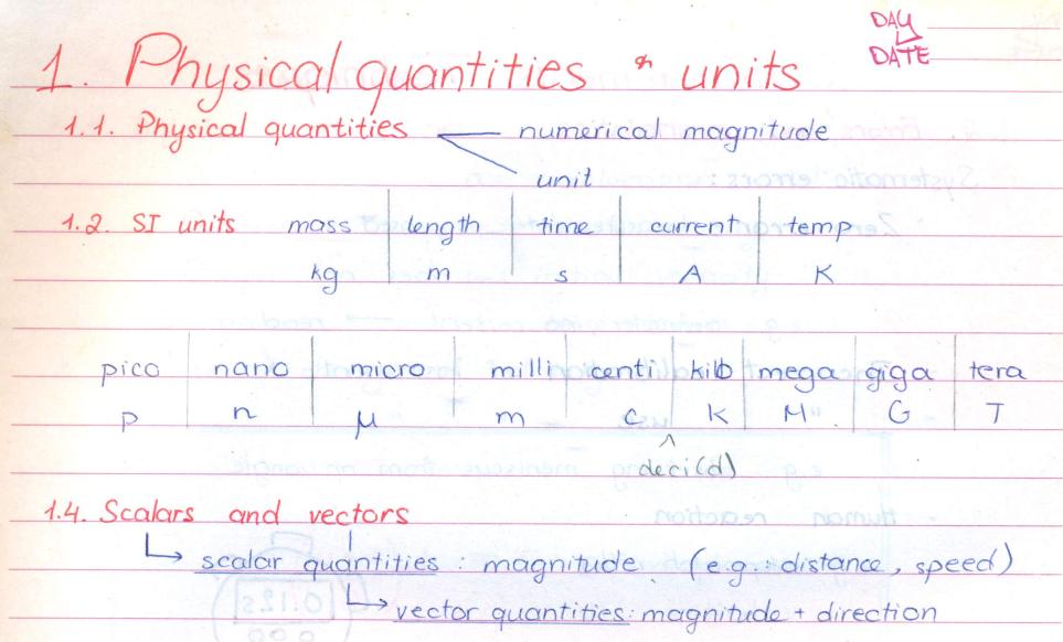 Class 9th Handwritten Notes of Physics