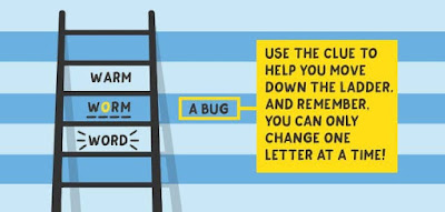 Figure: Take a look at this example! Replace one letter, forming a new word, as you move down the ladder.