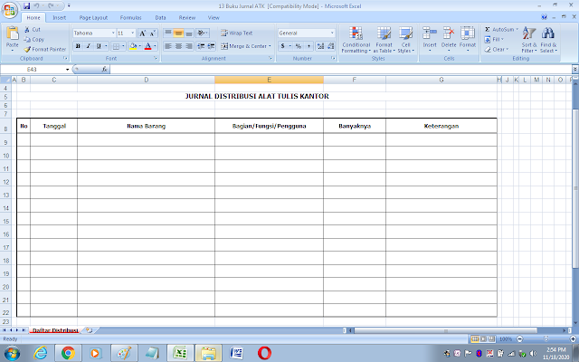 Format buku jurnal alat tulis kantor (ATK)
