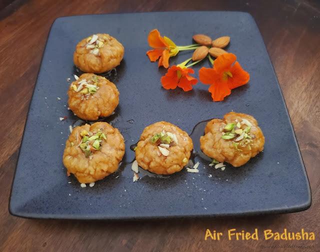 images of Badusha In Air Fryer / Badhusha Sweet In Air Fryer / Balushahi Recipe Using Air Fryer / Air Fried Badusha