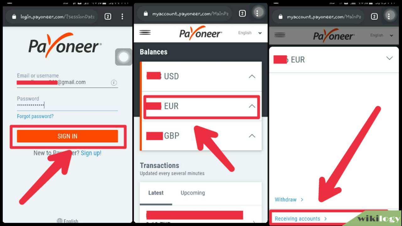 Payoneer euro bank details collecting