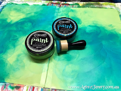 creating the background for Mixed Media artwork by Jenny James featuring the theme Bucket List