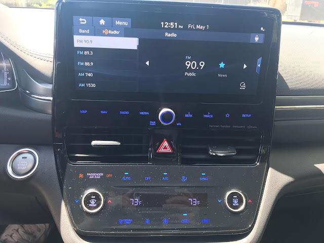 Infotainment and HVAC in 2020 Hyundai Ioniq HEV Limited