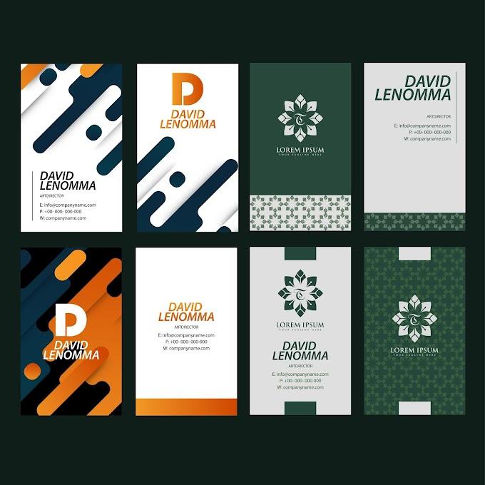 Business cards templates floral decor flat dark design Free vector
