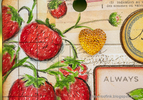 Layers of ink - Vintage Strawberry Tag Tutorial by Anna-Karin Evaldsson.