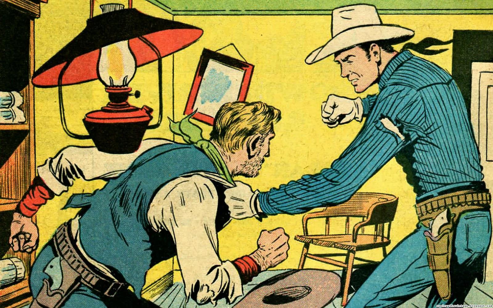 Powder River Rustlers (Vintage Comic Wallpaper) Vintage Comic Book Background
