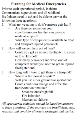 Planning for Medical Emergencies: What are we going to do if someone gets hurt? How will we get them out of here? How long will it take to get them to a hospital?