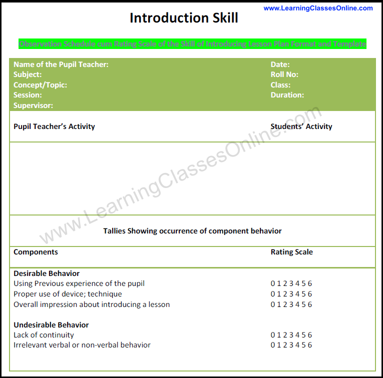 skill of introduction lesson plan format and template, how to introdcue lesson in class, micro skill of introduction notes pdf, micro teaching lesson plan format on introduction skill, components of skill of introduction in micro teaching,