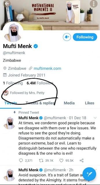 Nicki Minaj follows Mufti Ismail Menk on twitter