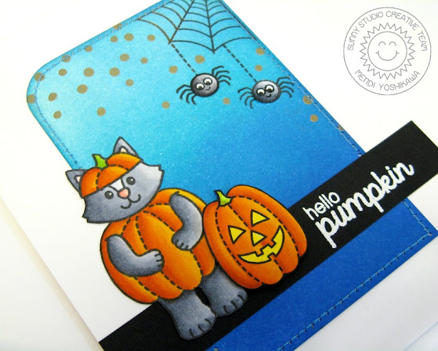 Sunny Studio Stamps: Halloween Cuties Hello Pumpkin Card by Mendi Yoshikawa