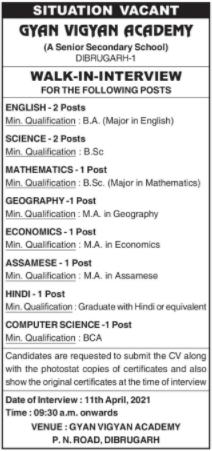 Gyan Vigyan Academy School Job Recruitment