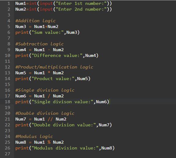 Python Program - Arithmetic Operations