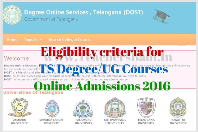 Eligibility criteria,TS Degree/UG Course,Online Admissions 2016