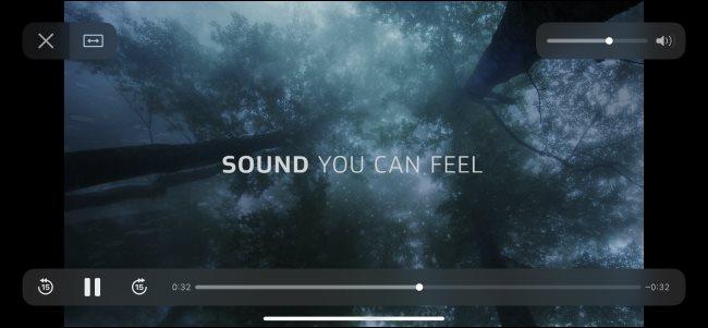 فيديو اختبار Dolby Atmos يتم تشغيله على iPhone.