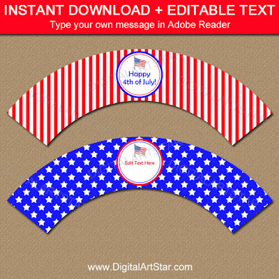 printable 4th of July cupcake wrappers