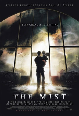 Movie poster for Dimension Films's 2007 horror thriller The Mist, Thomas Jane, Marcia Gay Harden, Andre Braugher, Toby Jones, Jeffrey DeMunn, and Laurie Holden