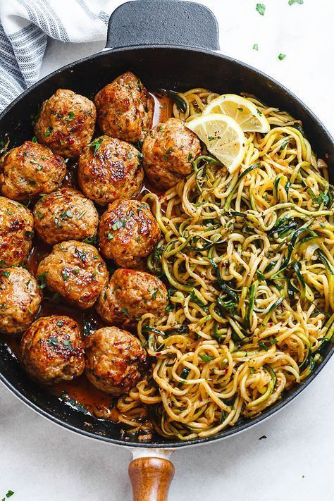 Garlic Butter Meatballs with Lemon Zucchini Noodles – This easy and nourishing skillet meal is absolutely fabulous in every way imaginable! Cheesy turkey and pork meatballs just melt in your …