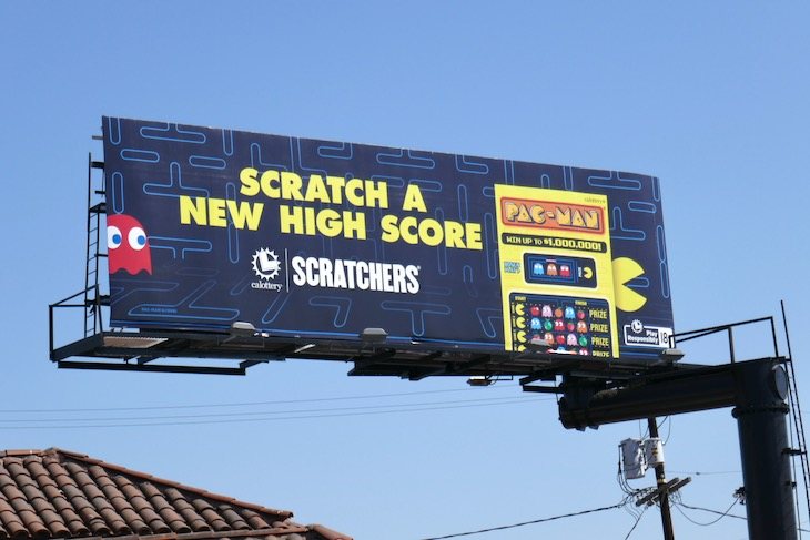 Scratch a new high score California State Lottery PacMan Scratchers billboard