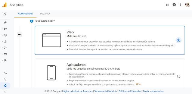 Luego seleccionamos que vamos a medir, en nuestro caso una WEB, misma que hemos diseñado en Wordpress, y damos clic en siguiente.