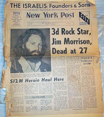 Jim Morrison dead at age 27... July 3, 1971