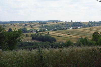 Sochy. Widoczna łańcuchowa zabudowa wsi wzdłuż suchej doliny oraz odchodzące prostopadle wąskie pasy pól uprawnych