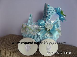 wózek, origami modułowe, papier, błękitny, materacyk, kołderka, poduszeczka