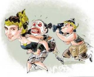 Gambar Karikatur Wayang Lucu Luna Maya Wanita Cantik Perwayangan