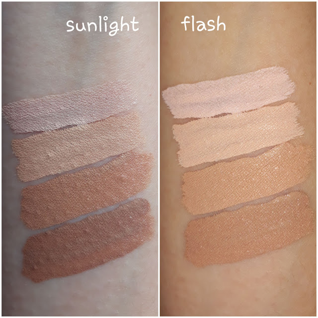 Swatches of Althea Flawless Creamy Concealer; Top to Bottom is 1 to 4.