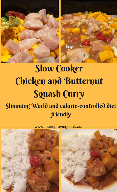 Slow Cooker Chicken and Butternut Squash Curry- pinnable image