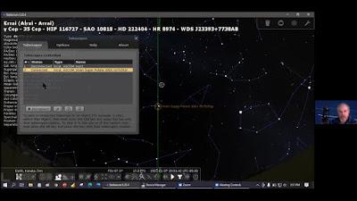 screen snap from test video, Stellarium commanding Vixen mount