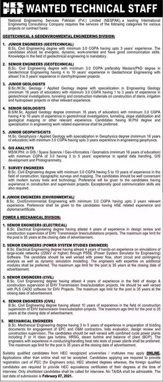 Latest Jobs in Pakistan NESPAK Jobs 2021 Apply Online