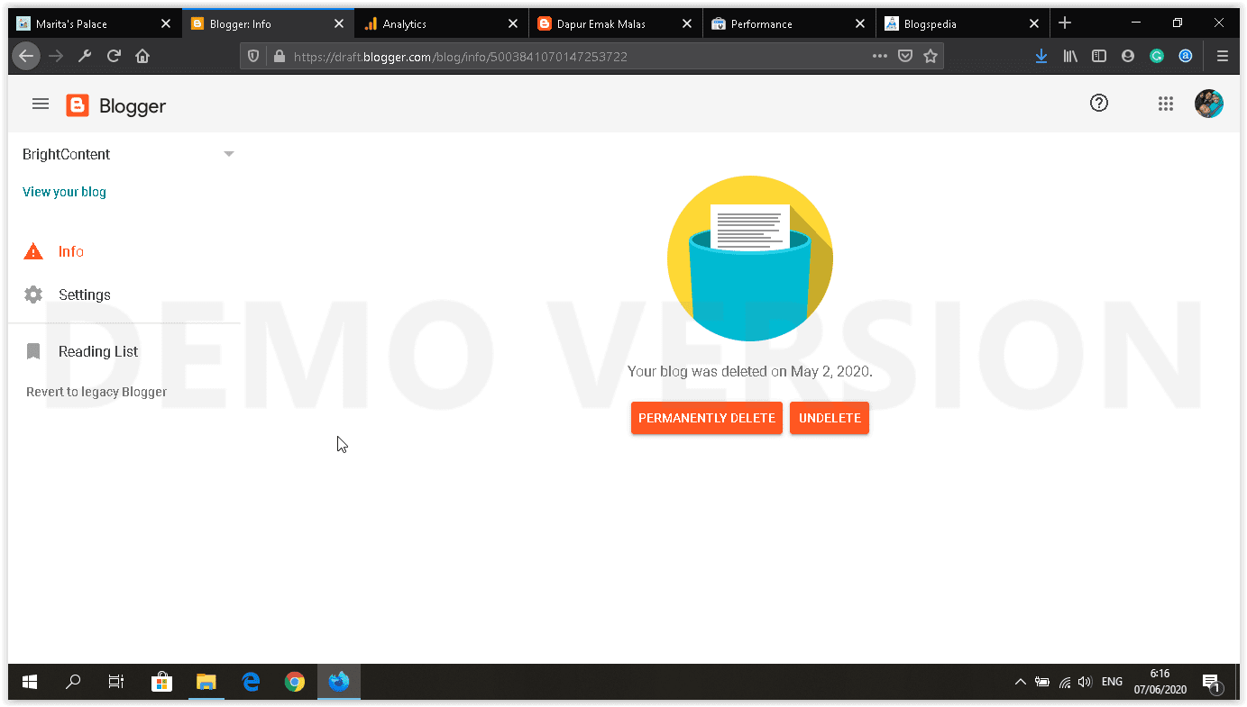 dashboard blogger baru trashed blog setting