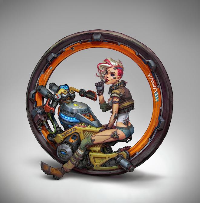 Cyberpunk Monowheel Pilot by Anton Lavrushkin