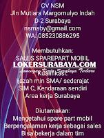 Loker Surabaya Juli 2019 di CV. NSM Terbaru