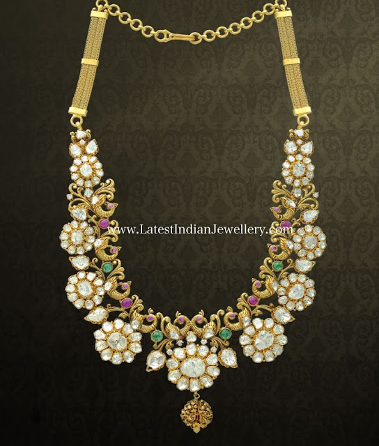 Polki Flowers Nakshi Fusion Necklace