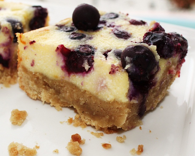 blueberry in a delicious creamy cheesecake baked with a graham cracker crust and cut into squares