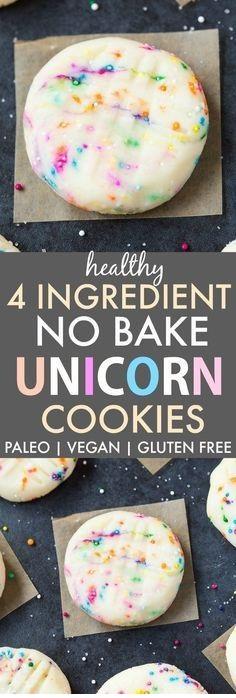 Healthy No Bake Unicorn Cookies