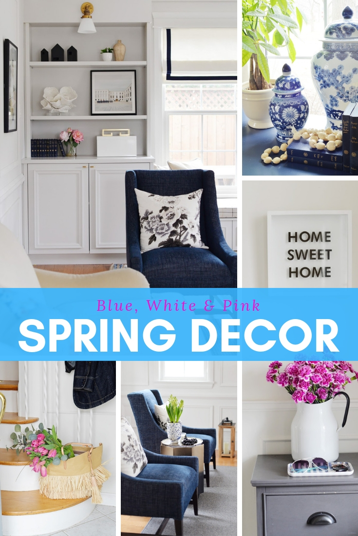 spring decorating ideas, blue and white spring decor, living room ideas