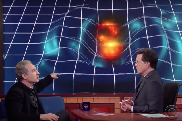 Live Physicist Brian Greene Explain Gravitational Waves To Stephen-Colbert
