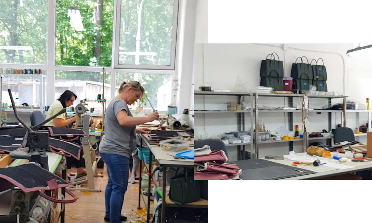 Vegan handbags by Alexandra K - Apple leather - ethical handbag factory in Warsaw