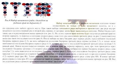 Набор начального ряда от середины плоского мозаичного полотна с выходом на ровный край по второму варианту