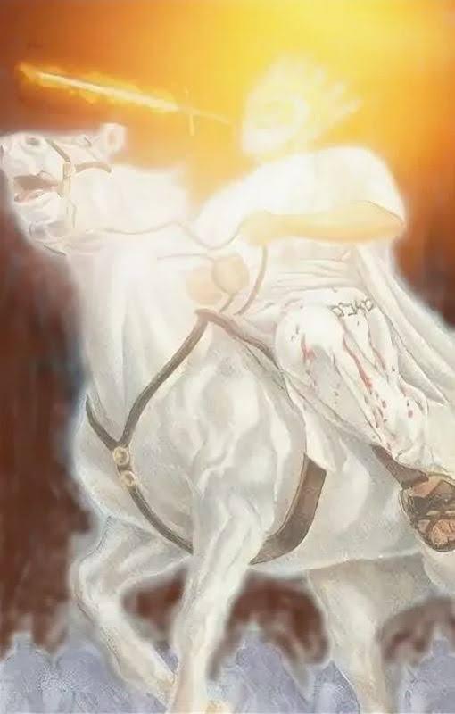 Всадник на белом коне с мечом в устах