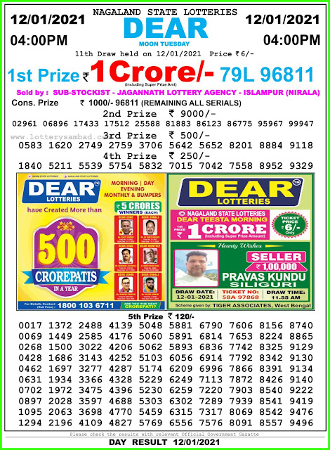 LIVE : Lottery Sambad Today 12.1.2021 Result  4:00 pm