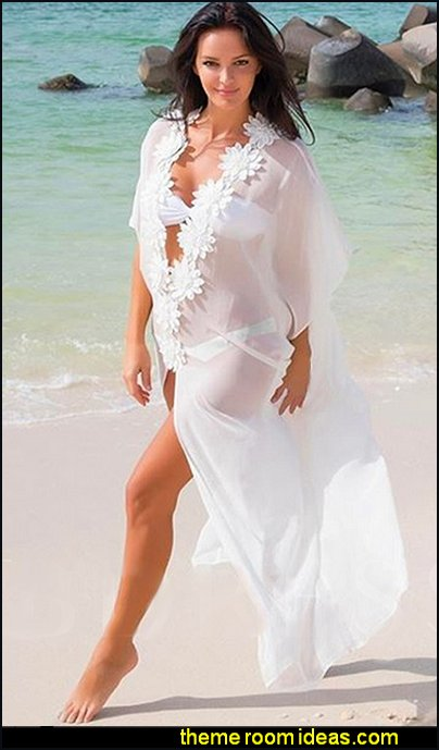 See-Through Chiffon Appliques Long Cover-Up Chiffon swimwear wraps womens beach wear