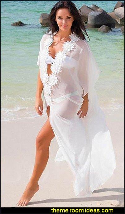 See-Through Chiffon Appliques Long Cover-Up Chiffon swimwear wraps womens beach wear
