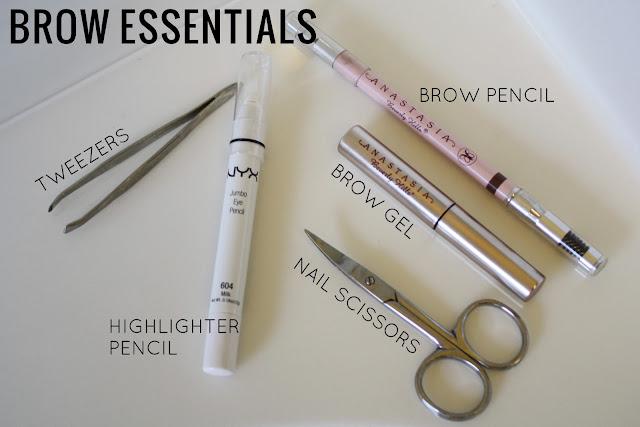 tweezers, highlighting pencil, nail scissors, brow gel, brow pencil